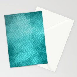 Textured limpet blue chevron pattern Stationery Cards