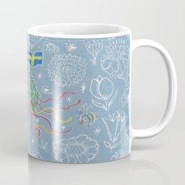 Swedish midsummer festival maypole w/ flowers, bees, leaves, ribbons Coffee Mug