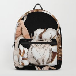 Cotton Flower & Rabbit Pattern on Black 01 Backpack