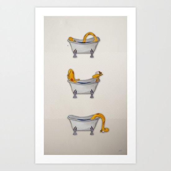 giraffe takes a bath Art Print