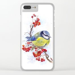 Watercolor Titmouse Great tit winter bird Clear iPhone Case