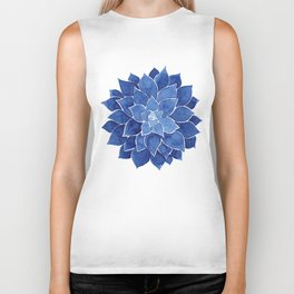 Indigo Succulent |  Watercolor Painting Biker Tank