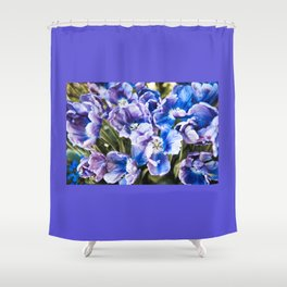 Purple blue tulips blooming abstract Shower Curtain