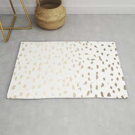Luxe Gold Painted Polka Dot on White Rug