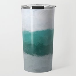 Aqua Teal Turquoise Sky Blue White Gray Abstract Wall Art, Painting Art, Water Surf Ocean Waves Travel Mug