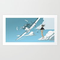 hiking Art Prints featuring Hitch-hiking by Mitt Roshin