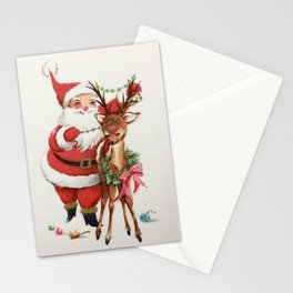 Santa and reindeer Stationery Cards