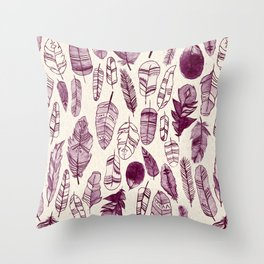 Maroon Feathers Throw Pillow