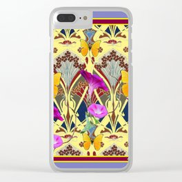 Decorative Cream Color & Fuchsia Morning Glories Floral Yellow Butterflies Clear iPhone Case