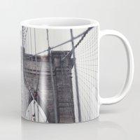 brooklyn bridge Mugs featuring Brooklyn Bridge by Kameron Elisabeth