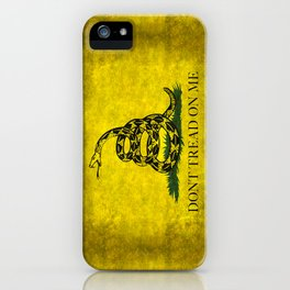 Gadsden Flag, Don't Tread On Me in Vintage Grunge iPhone Case