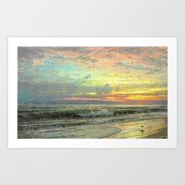Coastal Newport, Rhode Island Landscape Painting by William Trost Richards Art Print