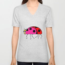 The Queen Ladybug in her Stilettos and Tiara Unisex V-Neck
