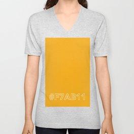 #F7AB11 [hashtag color] Unisex V-Neck