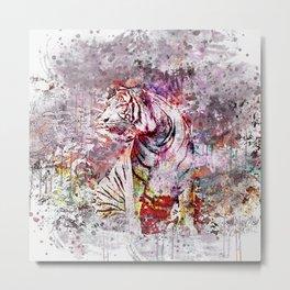 Tiger Watercolor Painted Art Metal Print