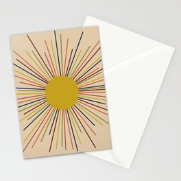 Mid-Century Modern Sunburst - Minimalist Abstract Sun in Mid Mod Mustard, Orange, Olive, Blue, and Beige Stationery Cards