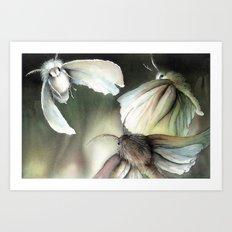 Moths around a flame Art Print