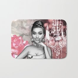 Retro Pinup Girl Chandelier & Flowers Shades of Pink Bath Mat