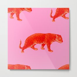Vintage Cheetahs in Coral + Red Metal Print