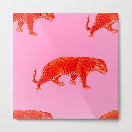Vintage Cheetahs in Coral + Red Metal Print