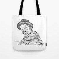 tom waits Tote Bags featuring Tom Waits Sketch in Black by JennFolds5 * Jennifer Delamar-Goss