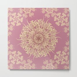 Oriental Tattoo Mandala gold on rose pink Metal Print