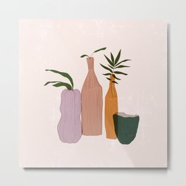 Feminine Abstract Vases II Metal Print