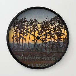 Japanese Woodblock Print Morning Sunrise Farm Tree Silhouette Wall Clock