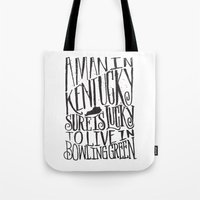 kentucky Tote Bags featuring KENTUCKY MAN by Matthew Taylor Wilson