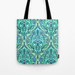 Botanical Moroccan Doodle Pattern in Mint Green, Lilac & Aqua Tote Bag