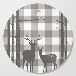 Deer & Birch Grey Plaid Cutting Board