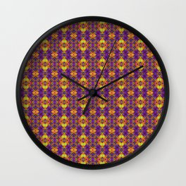 Gold & Purple Curly Medallions Wall Clock