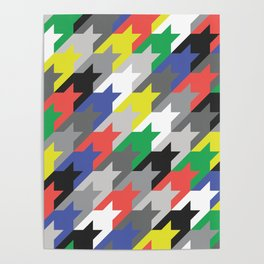 Multicolor houndstooth Poster