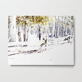 Winter Fence Line | Landscape | Nadia Bonello | Canada Metal Print