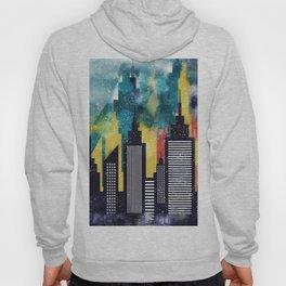New York City Skyscrapers In Watercolor Art, New York Poster, Wall Art Home Decor, City Skyline Art Hoody