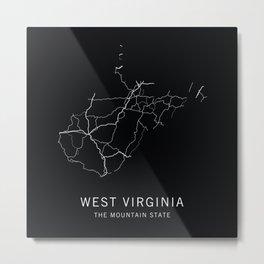 West Virginia State Road Map Metal Print