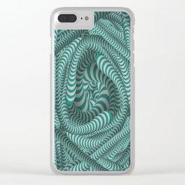 Mint green stripe illusion design Clear iPhone Case