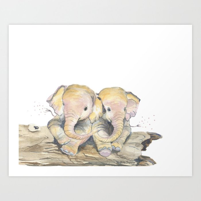 Happy Little Elephants Art Print
