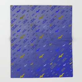 Local Upper Peninsula of Michigan Blue and Gold Pattern Throw Blanket