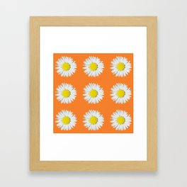 Retro Daisy · Orange Framed Art Print