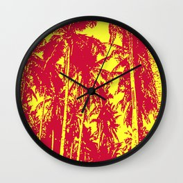 Palm Trees Design in Red and Yellow Wall Clock