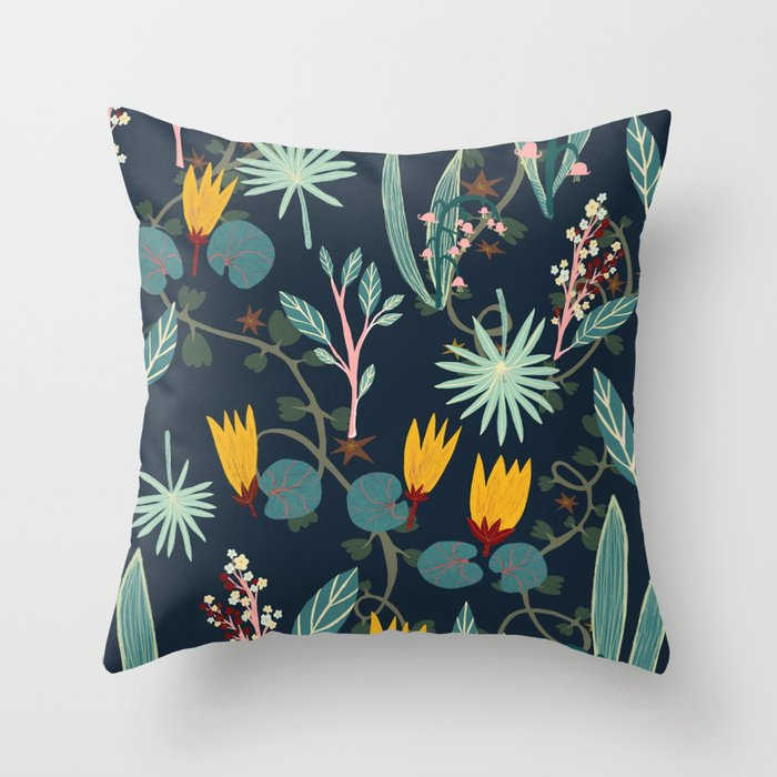 Night Gardens Throw Pillow