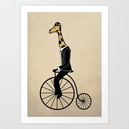Penny Farthing Giraffe Art Print
