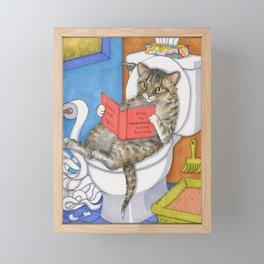 Cat on toilet Framed Mini Art Print