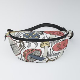 Hand-drawn mushrooms in muted blues, reds and yellows Fanny Pack