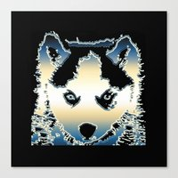 husky Canvas Prints featuring husky by AngelaArt