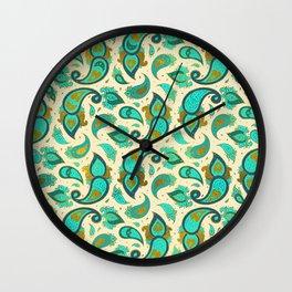 Aquamarine and gold Paisley pattern Wall Clock