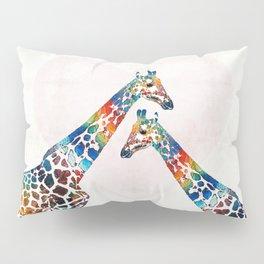 Colorful Giraffe Art - I've Got Your Back - By Sharon Cummings Pillow Sham