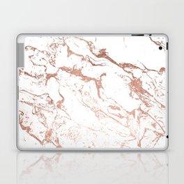 Modern chic faux rose gold white marble pattern Laptop & iPad Skin