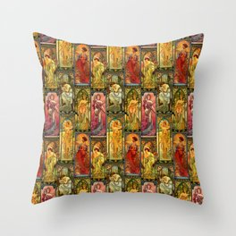 Victorian Art Nouveau Panels Throw Pillow